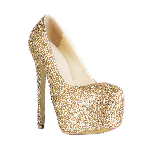 Women's Champagne Suede Platform/Pumps with Crystal/Crystal Heel #LDB03030223