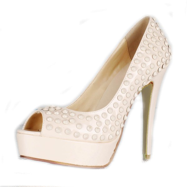 Women's Ivory Patent Leather Pumps/Peep Toe/Platform #LDB03030224