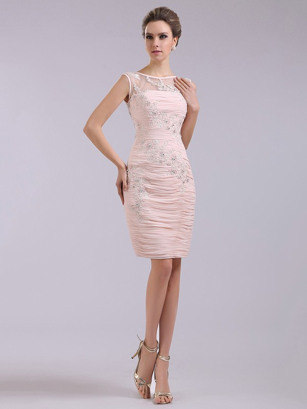 Newest Scoop Neck Pleats and Appliques Short/Mini Pink Chiffon Tulle Prom Dresses #LDB02042233