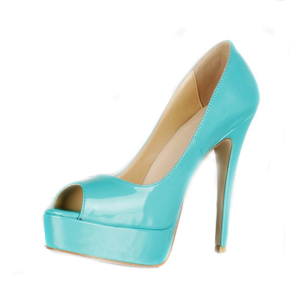 Women's Green Patent Leather Pumps/Peep Toe/Platform