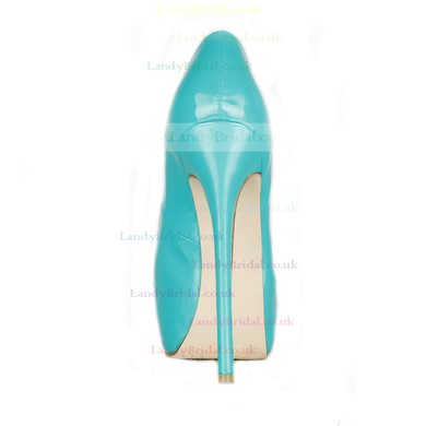 Women's Green Patent Leather Pumps/Closed Toe/Platform #LDB03030226