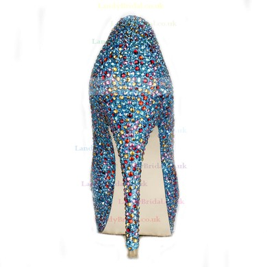 Women's Multi-color Suede Pumps/Peep Toe/Platform with Crystal Heel/Sparkling Glitter #LDB03030227