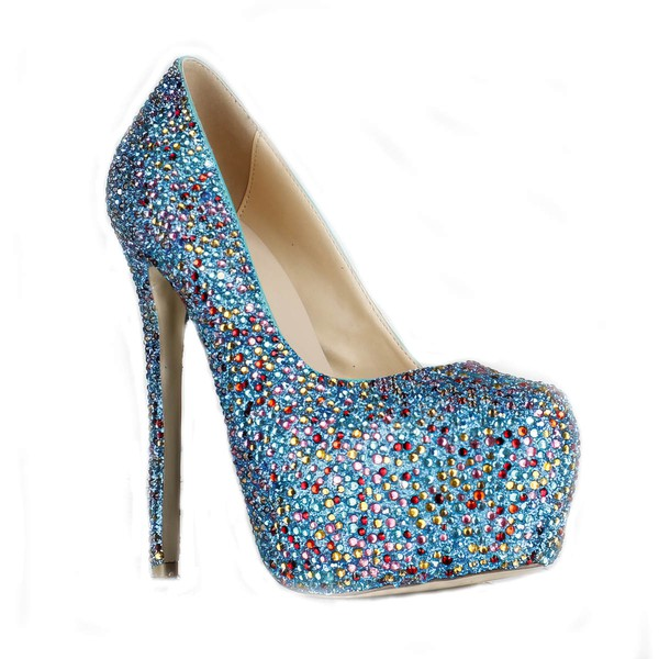 Women's Multi-color Suede Pumps/Closed Toe/Platform with Crystal Heel/Sparkling Glitter #LDB03030228