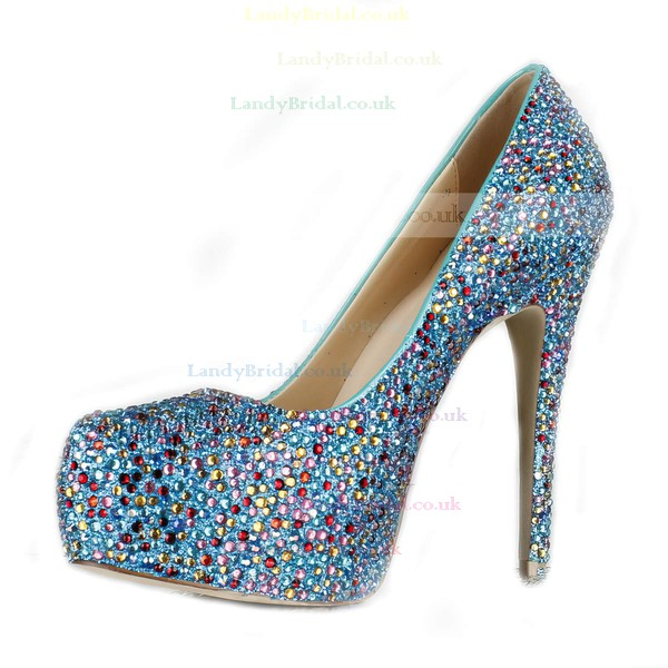 Women's Multi-color Suede Pumps/Closed Toe/Platform with Sparkling Glitter/Crystal Heel