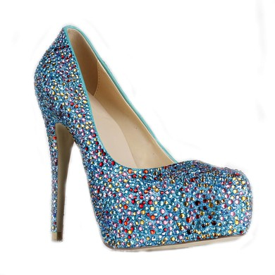 Women's Multi-color Suede Pumps/Closed Toe/Platform with Sparkling Glitter/Crystal Heel #LDB03030229