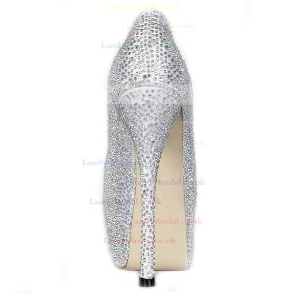 Women's Silver Satin Pumps/Peep Toe/Platform with Crystal Heel/Rhinestone