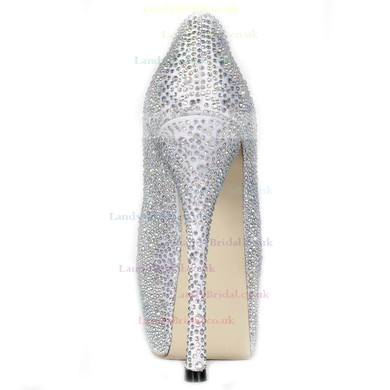 Women's Silver Satin Pumps/Peep Toe/Platform with Crystal Heel/Rhinestone #LDB03030230