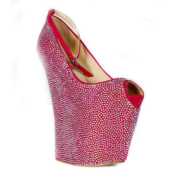 Women's Fuchsia Cloth Peep Toe/Platform/Wedges with Crystal #LDB03030232