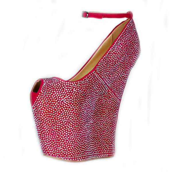 Women's Fuchsia Cloth Peep Toe/Platform/Wedges with Crystal