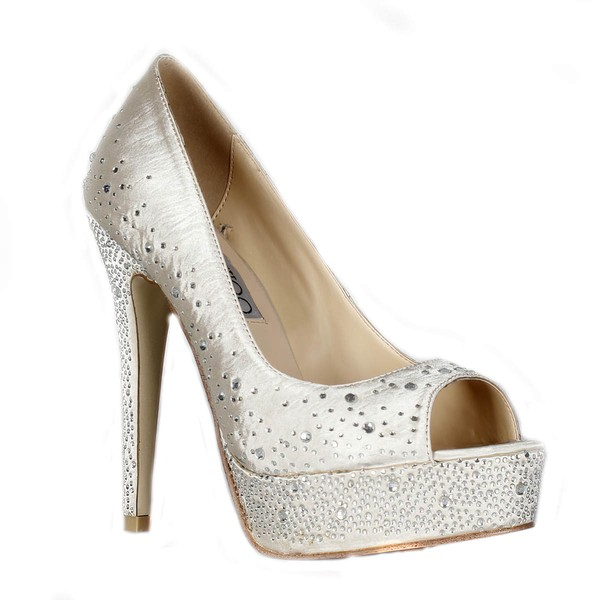 Women's Ivory Satin Pumps/Peep Toe/Platform with Crystal