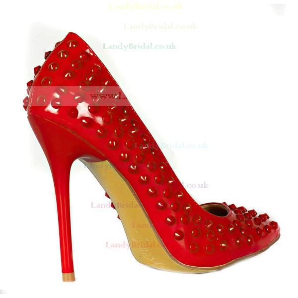Women's Red Patent Leather Pumps/Closed Toe with Crystal