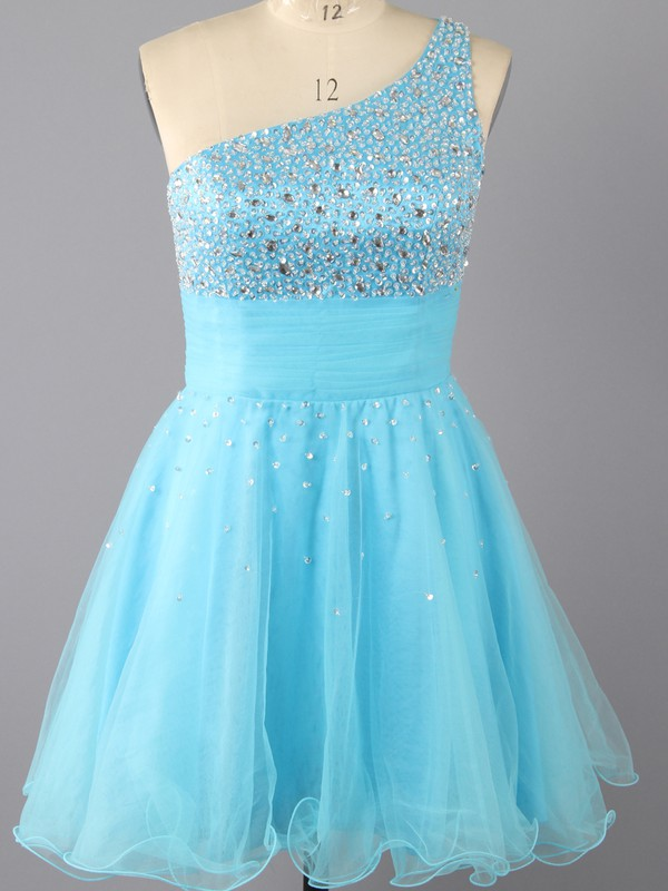 Cute Blue Tulle with Beading Short/Mini One Shoulder Prom Dresses #LDB02042285