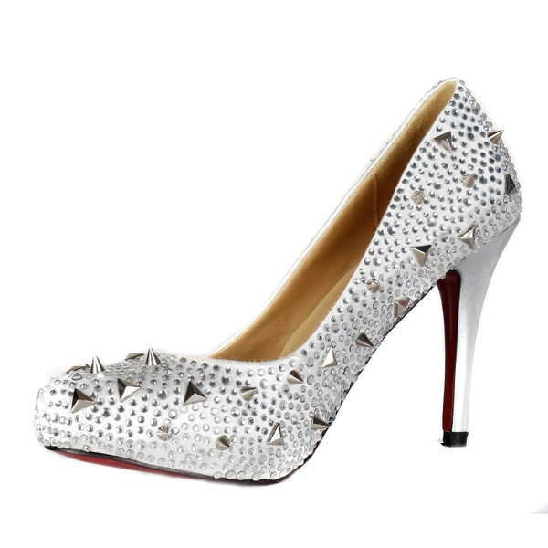 Women's Silver Satin Pumps/Closed Toe/Platform with Crystal #LDB03030236