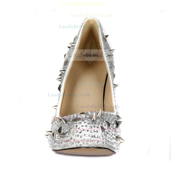 Women's Silver Satin Pumps/Closed Toe/Platform with Crystal