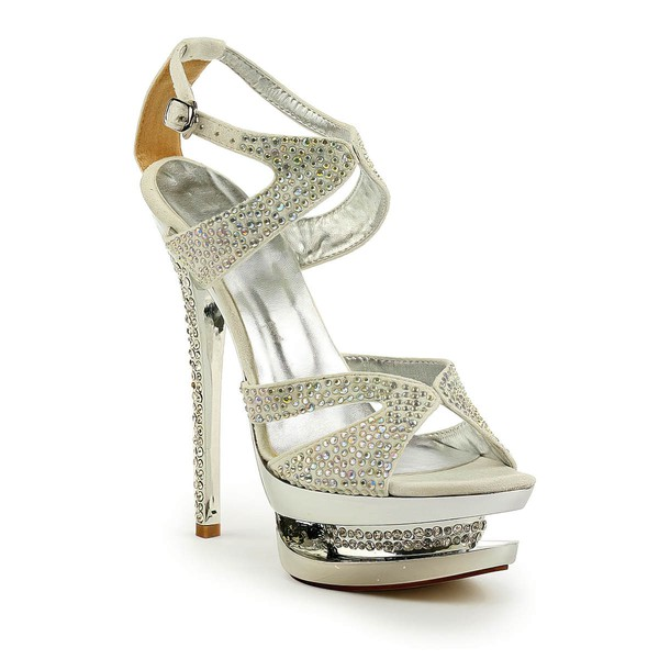 Women's Silver Suede Sandals/Peep Toe/Platform with Buckle/Crystal/Crystal Heel #LDB03030237