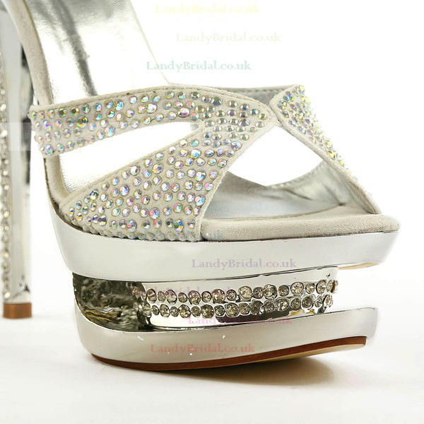 Women's Silver Suede Sandals/Peep Toe/Platform with Buckle/Crystal/Crystal Heel
