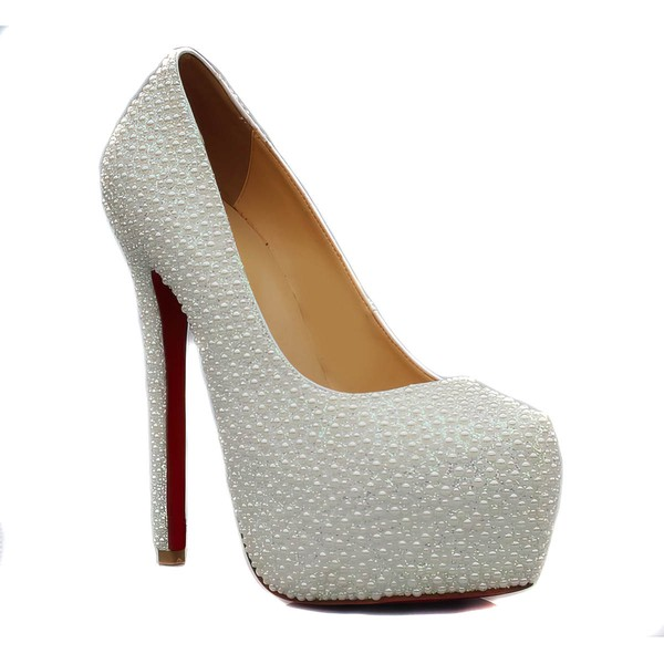 Women's White Suede Pumps/Closed Toe/Platform with Imitation Pearl #LDB03030238