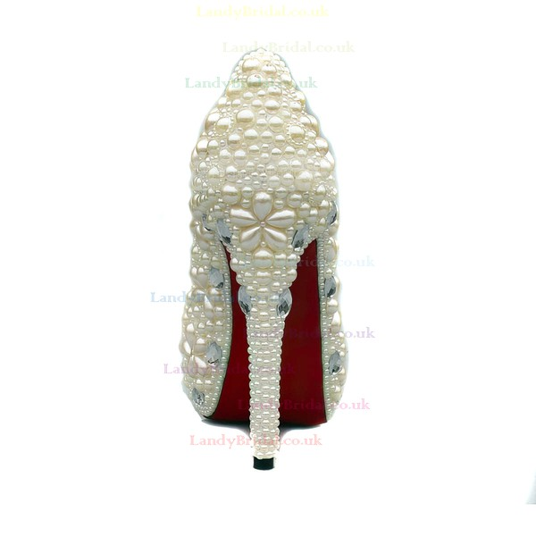 Women's White Suede Pumps/Closed Toe/Platform with Crystal/Pearl