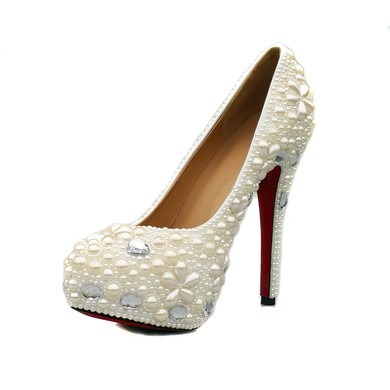 Women's White Suede Pumps/Closed Toe/Platform with Crystal/Pearl #LDB03030239