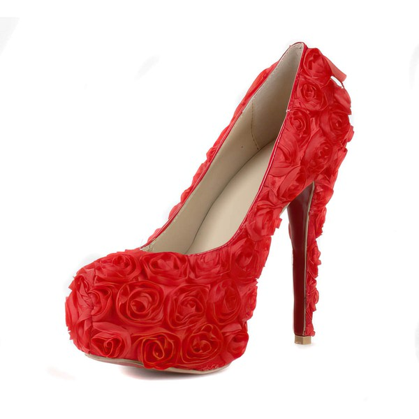 Women's Red Suede Pumps/Closed Toe/Platform with Satin Flower #LDB03030240