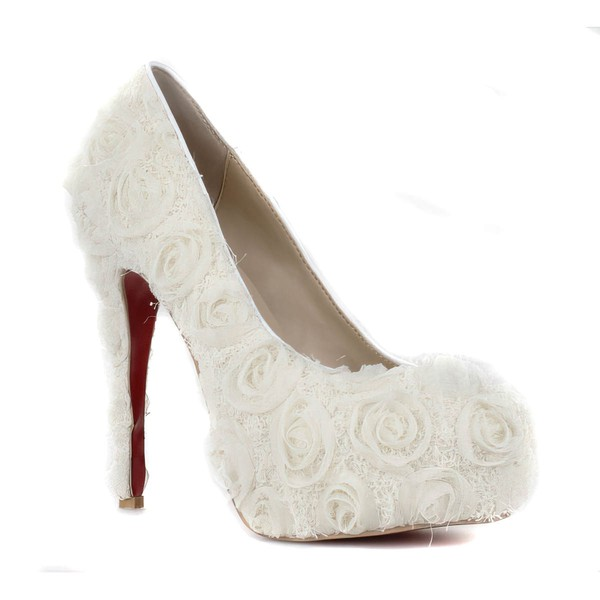 Women's White Suede Pumps/Closed Toe/Platform with Flower