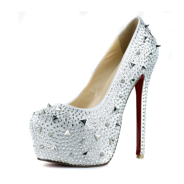 Women's Silver Satin Pumps/Closed Toe/Platform with Crystal Heel/Crystal #LDB03030242