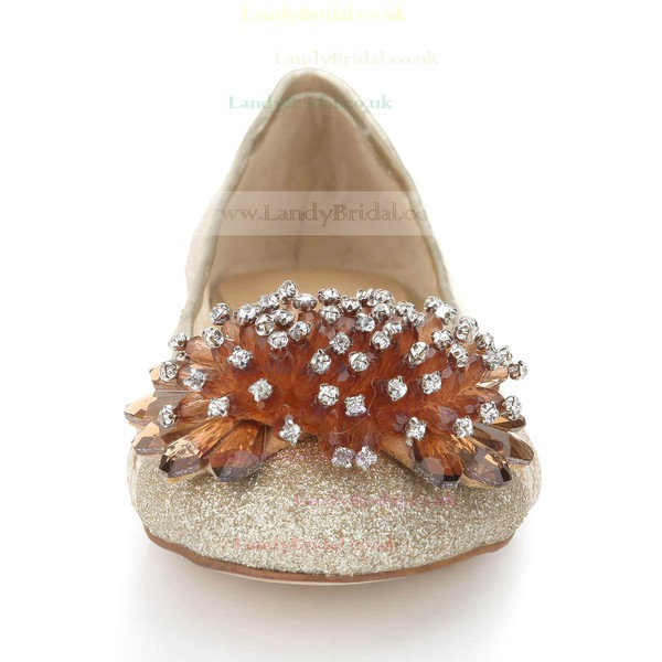 Women's Light Golden Suede Closed Toe/Flats with Sequin/Crystal/Others