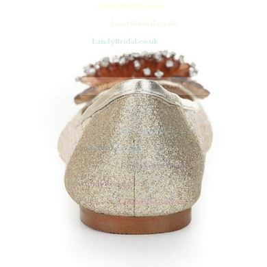Women's Light Golden Suede Closed Toe/Flats with Sequin/Crystal/Others #LDB03030244