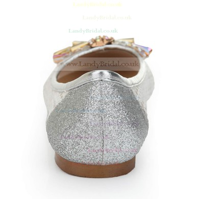 Women's Silver Suede Closed Toe/Flats with Sequin/Crystal/Others #LDB03030245