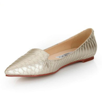 Women's Gold Suede Closed Toe/Flats #LDB03030246