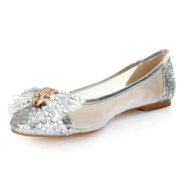 Women's Silver Suede Closed Toe/Flats with Sequin/Crystal/Others