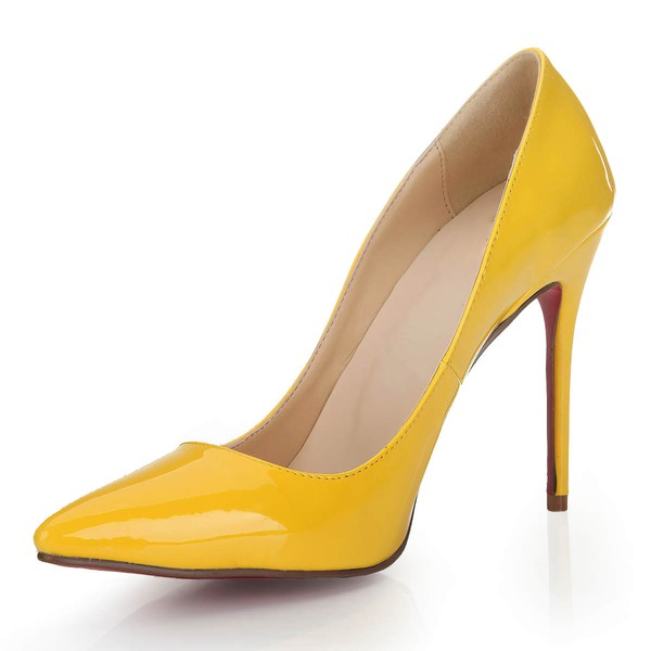 Women's Yellow Patent Leather Pumps/Closed Toe #LDB03030248