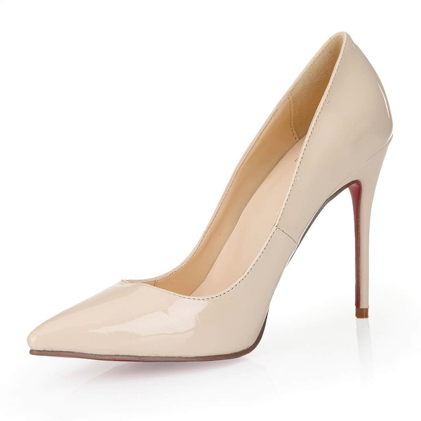Women's Beige Patent Leather Closed Toe/Pumps #LDB03030250
