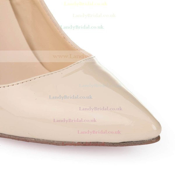 Women's Beige Patent Leather Closed Toe/Pumps
