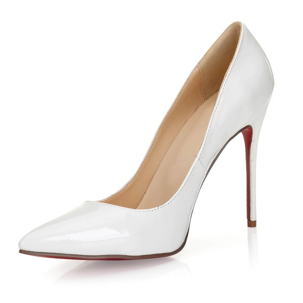 Women's White Patent Leather Pumps/Closed Toe #LDB03030251
