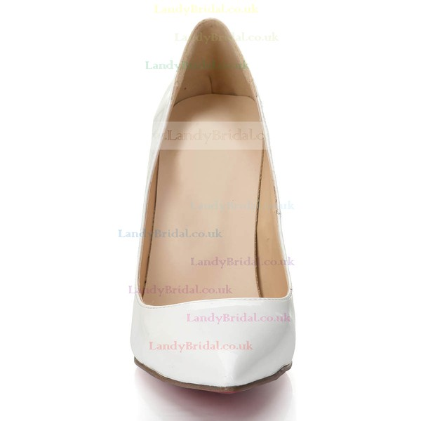 Women's White Patent Leather Pumps/Closed Toe