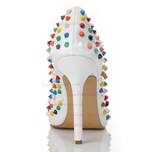 Women's White Patent Leather Closed Toe/Pumps #LDB03030254