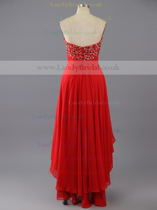 Red Chiffon Sweetheart High Low Beading Asymmetrical Prom Dress #LDB02042361