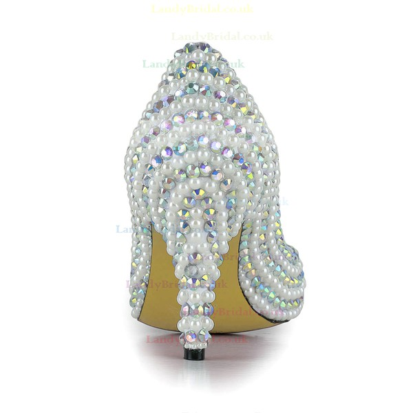 Women's White Patent Leather Pumps/Closed Toe with Imitation Pearl/Crystal/Crystal Heel #LDB03030255