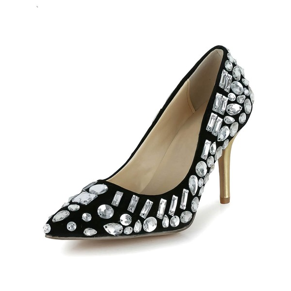Women's Black Patent Leather Closed Toe/Pumps with Rhinestone