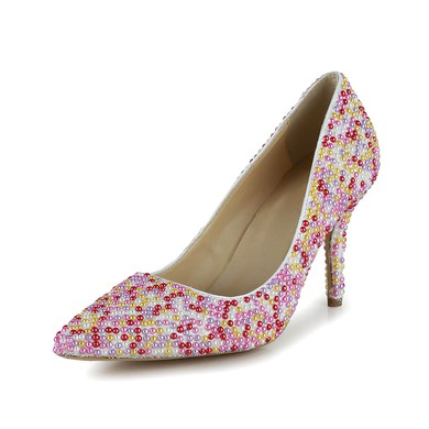 Women's Multi-color Patent Leather Closed Toe/Pumps with Imitation Pearl #LDB03030257