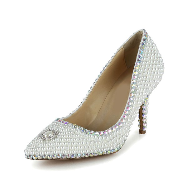 Women's White Patent Leather Closed Toe/Pumps with Crystal/Pearl #LDB03030258