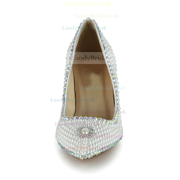 Women's White Patent Leather Closed Toe/Pumps with Crystal/Pearl