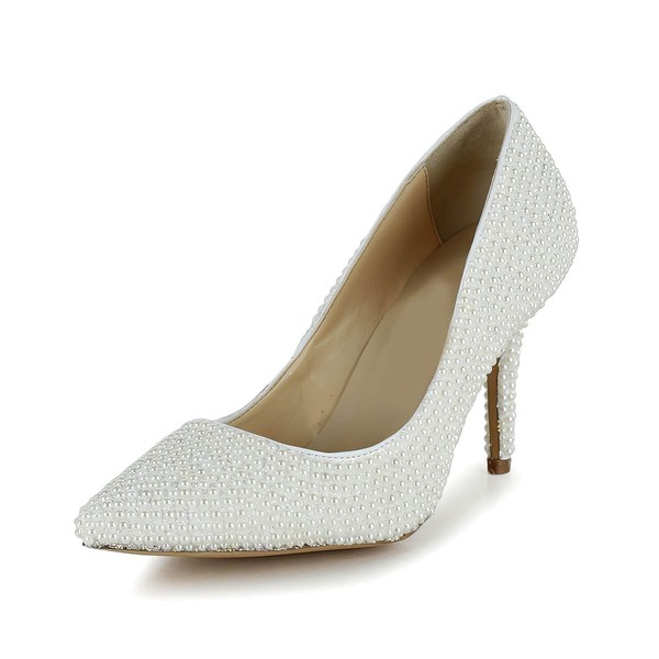 Women's White Patent Leather Pumps/Closed Toe with Pearl #LDB03030259