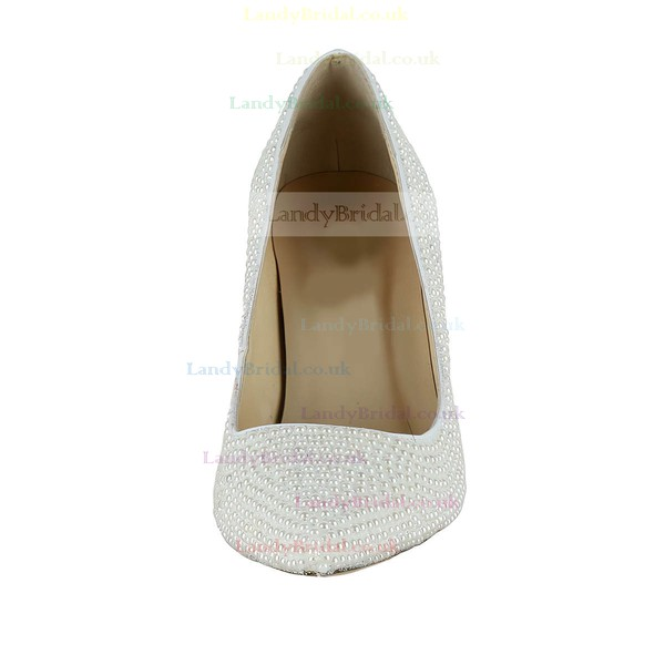 Women's White Patent Leather Pumps/Closed Toe with Pearl