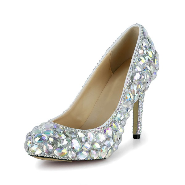 Women's Multi-color Patent Leather Pumps/Closed Toe with Crystal/Crystal Heel #LDB03030260