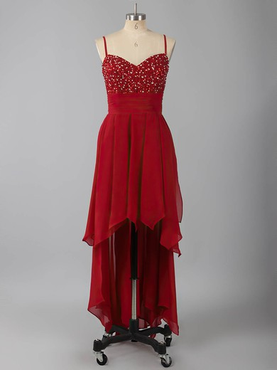 Nice Asymmetrical Chiffon Beading Lace-up V-neck High Low Prom Dress #LDB02042373