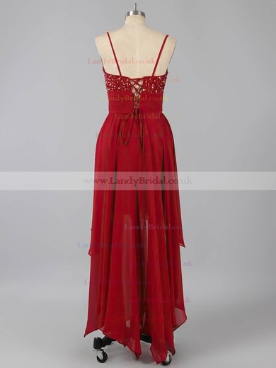 Nice Asymmetrical Chiffon Beading Lace-up V-neck High Low Prom Dress #LDB02042373