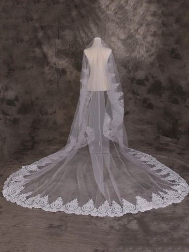 One-tier Ivory Cathedral Bridal Veils with Applique #LDB03010065