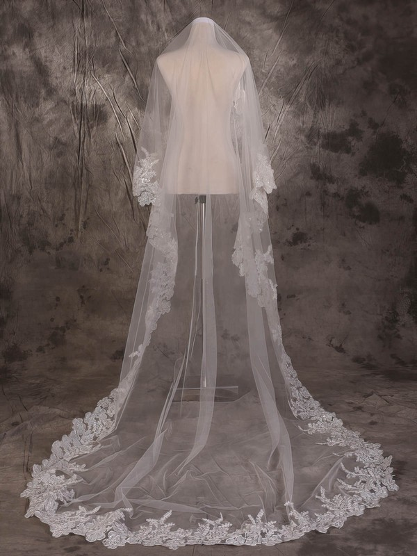 One-tier Ivory Cathedral Bridal Veils with Sequin #LDB03010066